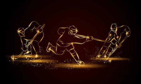 hockey goal: Hockey players set. Golden linear hockey player illustration for sport banner, background and flyer.