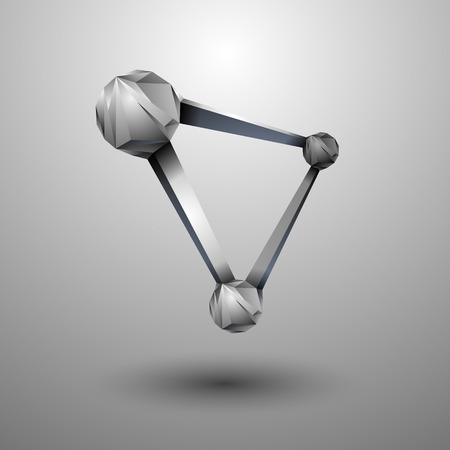 Polygonal 3D abstract structure. Three molecules interconnected by a molecular sieve.