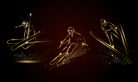 Skiers set. Golden linear ski sport illustration for sport banner, background and flyer.