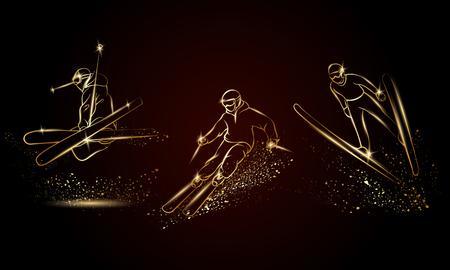 Skifahrer eingestellt. Goldene lineare Skisportillustration für Sportfahne, -hintergrund und -flieger.