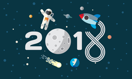 El astronauta y el cohete en el fondo de la luna. Ilustración de tema de espacio plano para el calendario. 2018 Feliz año nuevo portada, póster, volante.