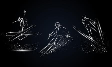 金属のスキーヤーを設定します。スポーツのバナー、背景およびチラシのクローム メッキの線形スキー スポーツ イラスト。