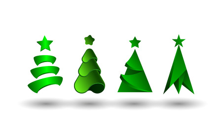 Abstract Christmas tree set. Vector 3d fir tree icons for Christmas and New Year greeting card decoration.