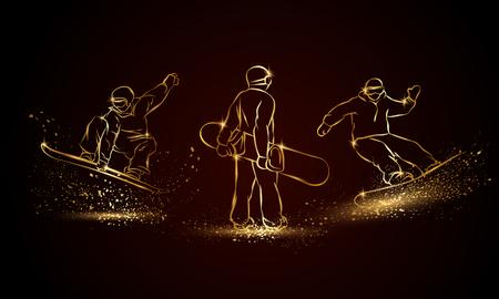Gold Snowboarder set. Golden linear snowboard sport illustration for sport banner, background and flyer.