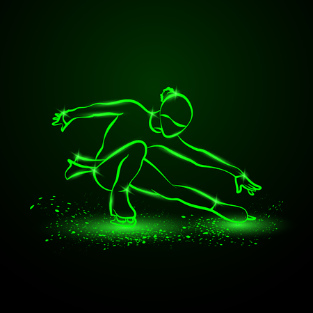 Figure skating neon illustration. The girl on skates performs her dance.