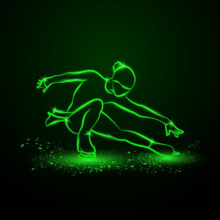 Figure skating neon illustration. The girl on skates performs her dance. Illustration