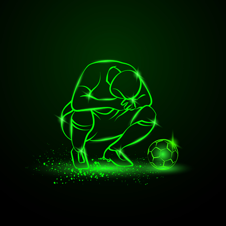 Loser soccer player squatted on his haunches and lowered his head. Green neon sport illustration.