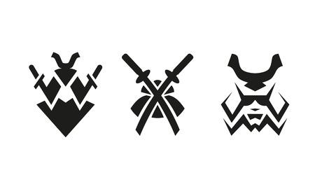 사무라이와 칼. 추상 흑백 로고를 설정합니다.
