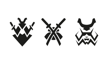 Samurai and swords. Abstract black and white logo set. Zdjęcie Seryjne - 90192405