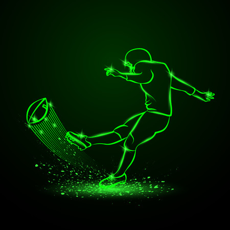 American football kicker hits the ball. Green neon sport background.