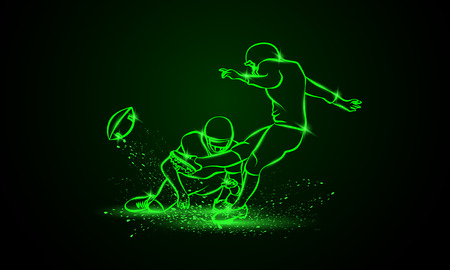 American Football Kicker Hits the Ball. Green Neon Sports Vector Illustration.