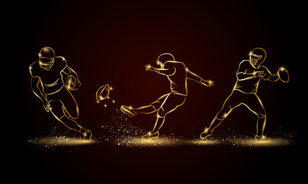 American football players set. Golden linear football player illustration for sport banner, background and flyer.