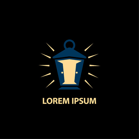 Vintage street lamp and door with light icon. Portal through time logo template with lantern. Иллюстрация