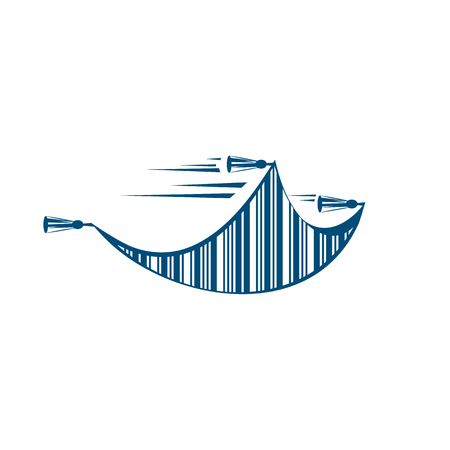 Flying carpet with bar code logo template.