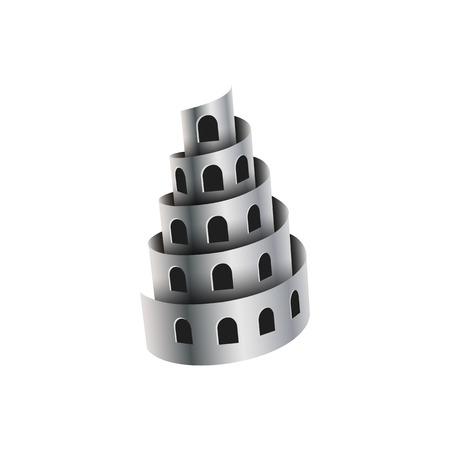 Las virutas de metal parecen una torre con ventanas. Ilustración de vector