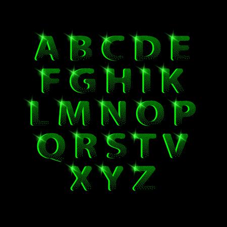 Dotting halftone green neon font.