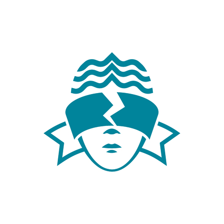 The head of a woman with blindfolded eyes, which is torn. Legal linear style logo template for the business card, branding and corporate identity.