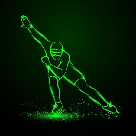 Speed Skating. Green neon winter sport illustration.