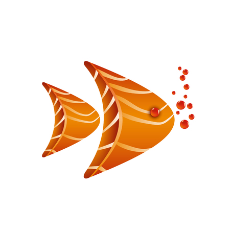 Aquarium fish composition of salmon slices with caviar bubbles. Sushi logo template for the business card, branding and corporate identity.