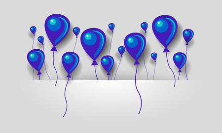 Flat blue and purple air balloons background. Balloons fly in space between layers for text. Illustration