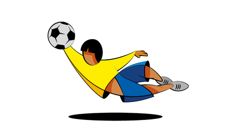 Soccer goalkeeper character catches the ball in a jump. Cartoon football player in yellow and blue clothes on a white background.