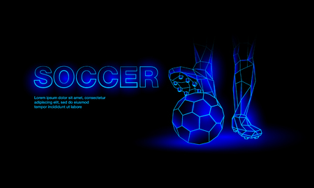 Soccer blue neon banner. Polygonal Foot of a football player on the ball.
