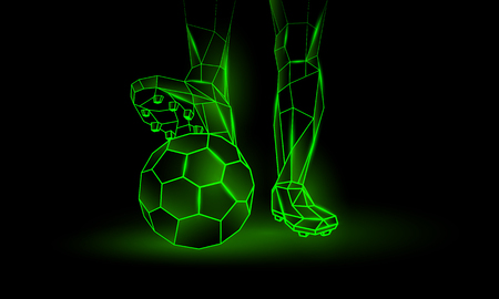 Soccer green neon background. Polygonal Foot of a football player on the ball.