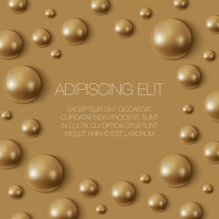 Realistic gold spheres on the surface. Cosmetic product banner with place for text.