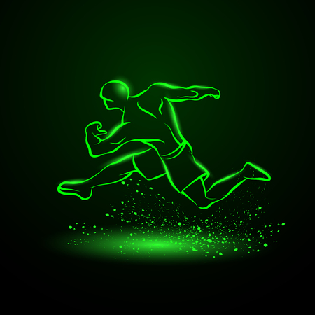 Strong runner. Green neon linear silhouette of a running athlete. 向量圖像
