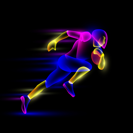 Football player running with the ball. Abstract neon transparent overlay layers look like a virtual football player character.