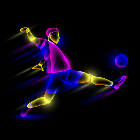 Soccer player hits the soccer ball. Abstract neon transparent overlay layers look like a virtual football player character. Illustration