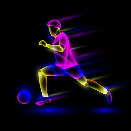 Soccer player running with soccer ball. Abstract neon transparent overlay layers look like a virtual football player character.