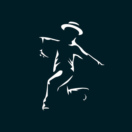 Jazz dancer in the dark with light on his silhouette. Illustration