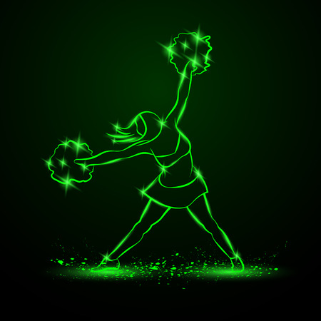 Cheerleader dances with pom poms. Green neon cheerleading illustration for sporting poster event.