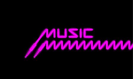 Bannière de musique trans fluorescente. Prise audio et cordon à ressort. Vecteurs