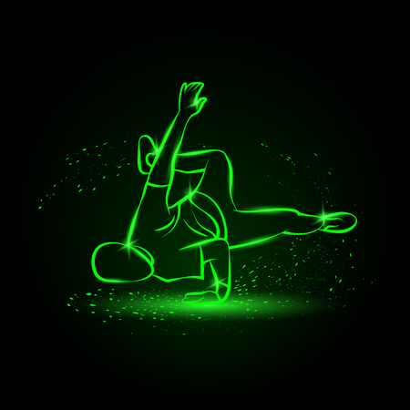 Breakdancer makes a frieze. Street dancing neon illustration with B boy on one hand.