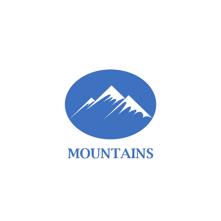Abstract blue mountains with a snow cap icon. Mountains icon idea for the business card, branding and corporate identity.