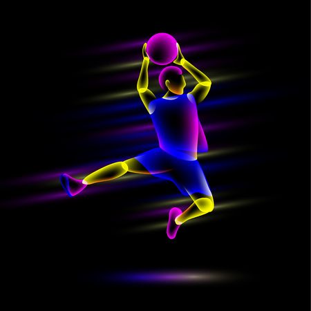 Slam by basketball player. Abstract neon transparent overlay layers look like a virtual basketball player character.