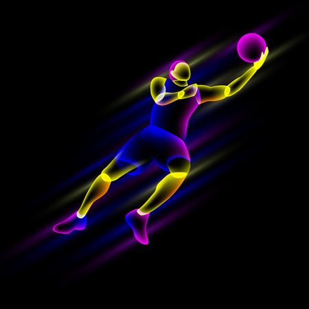 Basketball player in a jump. Abstract neon transparent overlay layers look like a virtual basketball player character.