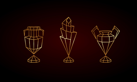 Golden Polygonal Winner Cups Set. Abstract Linear Grid Sports Trophy. Illusztráció