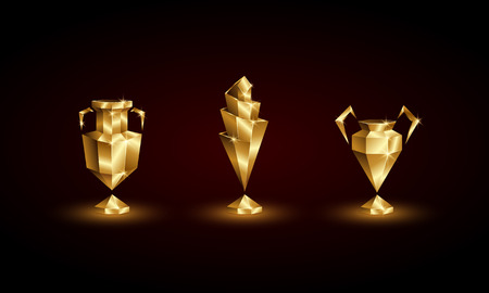 Golden Low Poly Soccer Cups Set. Abstract Polygonal 3D Football Trophy of Euro, Champions, Nations League. Illusztráció