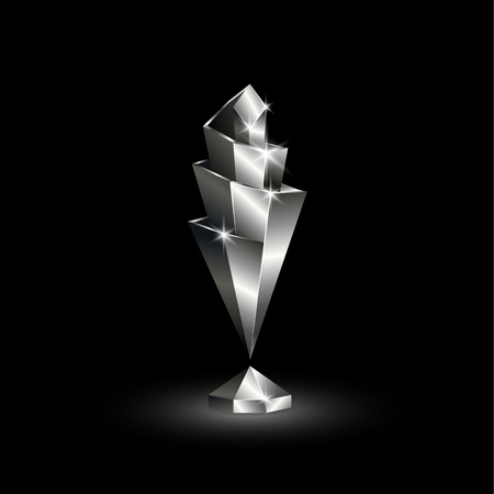 Chromed Low Poly Nations League Cup. Abstract Polygonal 3D Soccer League of Nations Trophy on  Black Background.