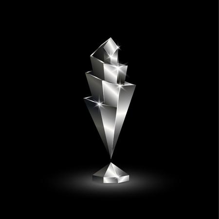 Coppa della Lega delle Nazioni cromata Low Poly. Abstract 3D poligonale Soccer League of Nations Trophy su sfondo nero.