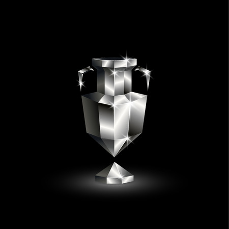 Chromed Low Poly Euro Football Cup. Abstract Polygonal 3D Soccer Trophy on  Black Background.