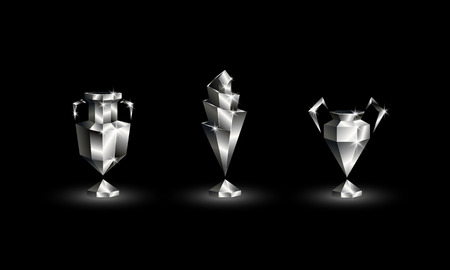 Chromed Low Poly Soccer Cups Set. Abstract Polygonal 3D Football Trophy of Euro, Champions, Nations League.