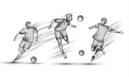 Soccer players set. Transparent black silhouette of a soccer players on a white background with overlay effect.