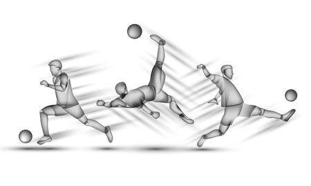 Fußballspieler eingestellt. Transparente schwarze Silhouette eines Fußballspielers auf einem weißen Hintergrund mit Überlagerungseffekt. Vektorgrafik