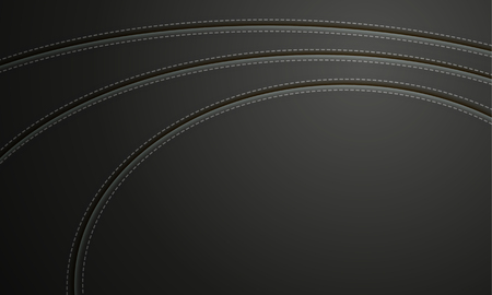 Black Leather With Stitch Background. Leather Banner With Copy Space Place.