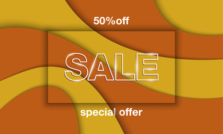 Autumn sale banner template. White sale letters with shadow embossing frame on yellow and orange paper cut layers background.