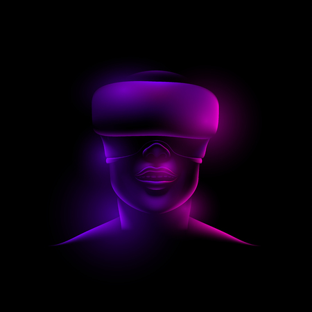 Glowing neon reflex on a female face with virtual glasses on a black background.